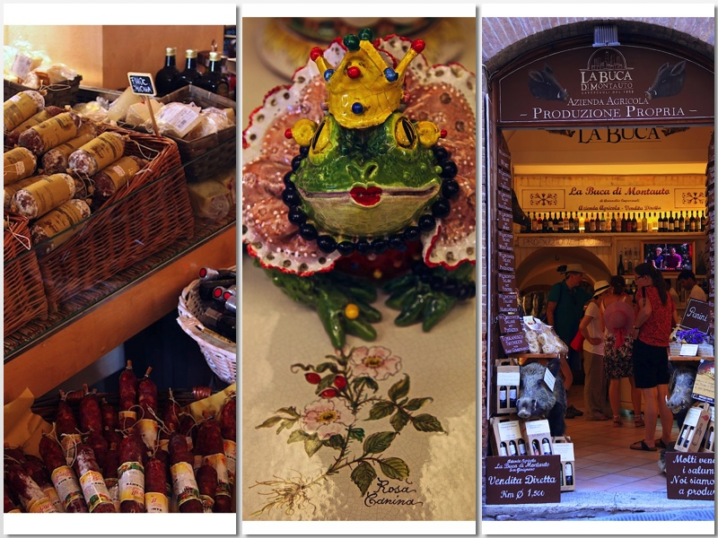 variety of goods in the village shops in Tuscany